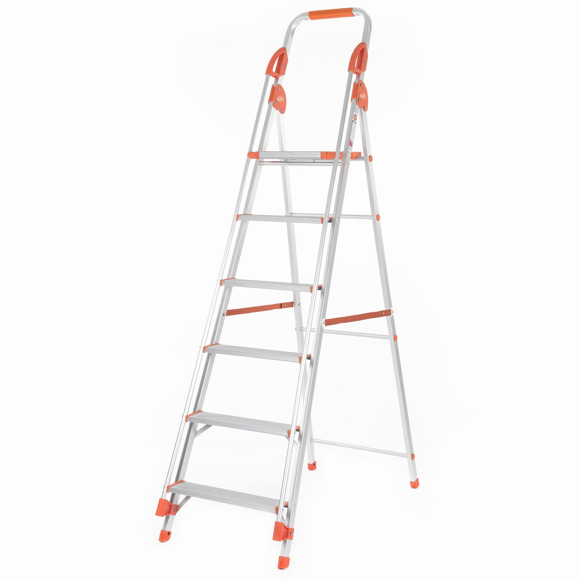 Bathla Zenith 6-Step Foldable Aluminium Ladder with Hand Rails & Safety  Grips