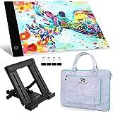 PP OPOUNT A4 LED Light Pad Set met Diamond Painting A4 LED Light Box, Polyester Vilt Hand Held Bag, Stand Houder en Zwarte Pa