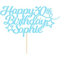 EDSG Personalised Happy Birthday Cake Topper Customized with Any Age Name Party Cake Decoration 16 18 21 40 60 Double…