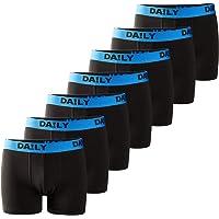 DA!LY UNDERWEAR Men's Boxer Shorts Basic Boxer Retro Trunks Pack of 7 Black Waistband Colourful 95% Cotton Daily S M L…