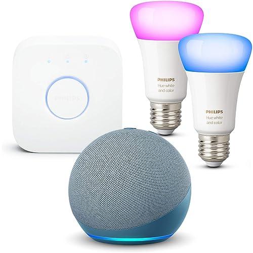 Echo Dot (4ª generazione), Ceruleo + Philips Hue Color Starter Kit 2 Lampadine Smart (E27), compatibile con Alexa