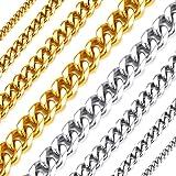 Richsteel Collares para Hombres Mujeres 46-76cm Cadena Cubana eslabones, Color Plateado - Negro - Dorado, Cadena Hombre Acero