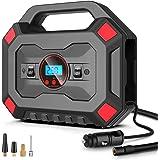 AOKBON Compresor Aire Coche 12V Inflador Portatil 120PSI 30 L/min Pantalla Doble de presión de neumáticos con Pantalla LED Ad