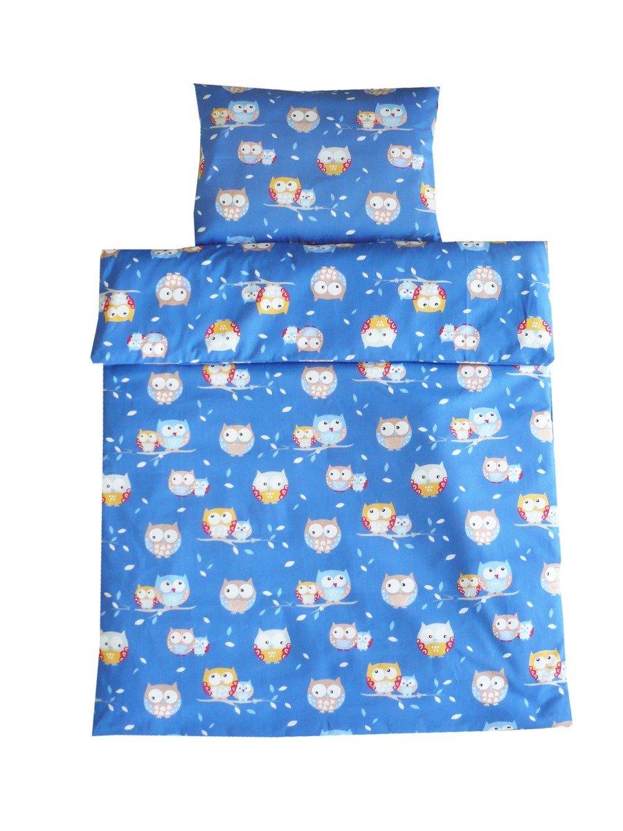 Linden, Set di biancheria per lettino, motivo: Gufetti, 100 x 135 e 40 x 60 cm, Blu (blau)