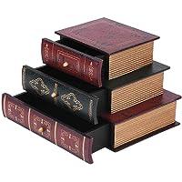 Boîte en bois - Organiseur de bureau - Boîte en bois avec 3 tiroirs - Vintage - Forme de livre - Boîte de rangement…