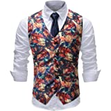 MU2M Men Business Slim Sleeveless V Neck Floral Print Suit Vests Waistcoat