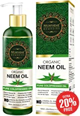 Morpheme Remedies Pure Organic Neem Oil Cold Pressed Oil for Hair and Skin, 120ml