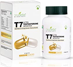 Neuherbs T7 Ultra Testosterone Booster with (Shilajeet, Ashwagandha, Fenugreek Extract, Maca Root Extract, Tribulus Terrestris and D-Aspartic Acid) - 60 Capsules