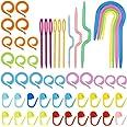 53 Pcs Accessoire Tricot et Crochet, Kit Crochet Tricot pour Debutant, Outil de Tricot avec Aiguille de Câble à Tricoter Croc