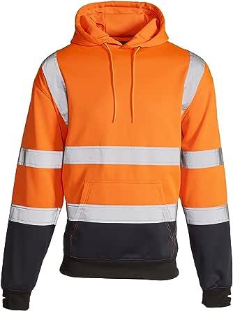 Stylo Online Hi Vis Viz 2 Two Tone Hoody Sweatshirt High Visibility Workwear Jumper Reflective Tape Band Work Fleece Safety Sweat Shirt Warm Security Jacket Zip Hoodie Work Wear Top Size S-4XL