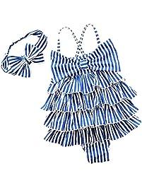 cf8ef288ff4b YONKINY Costume da Bagno Bambina Carino Strisce Costume Intero con Bowknot  Fascia Capelli Costume Mare Piscina