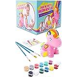 GirlZone Regalos para Niñas - Hucha Unicornio para Pintar - Kit Pintura para Niñas y Accesorios Infantiles -Pinceles, Colores