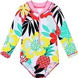 HUAANIUE Girls UPF 50+ UV One Piece Swimwear Kids Bodysuit Beachwear with Ziper Surfing Pink Swimming Children Bathing…