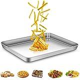 AEMIAO Teglie da Forno In Acciaio Inossidabile, Teglia Rettangolare Bassa per Pane Pizza Torte - Rivestimento Antiaderente/La