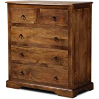 Unitek Furniture Antique Sheesham Wood Standing Chest of 5 Drawers for Living Room ( Brown , Natural Finish)