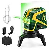 POPOMAN Livella Laser verde con 2 Punti a Piombo e Linea a Croce 25m, USB ricarica, Autolivellante e Funzione Impulso, Base M