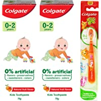 Colgate Kids Anticavity Toothpaste for 0-2 Years, 140g (70g x 2), Natural Fruit Flavour, 0% Artificial substances, SLS…
