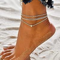 Aukmla - Cavigliera Boho a strati in argento a forma di cuore, catena a catena con sabbia e piede da spiaggia per donne…