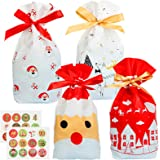 Matogle 24 Pezzi Sacchetto per Regalo Natalizio in plastica con Corda per Legare Sacchetti Regalo con Adesivi per Dolci Natal