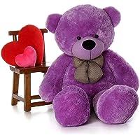 Frantic Premium Quality Soft Huggable Teddy Bear Plush Stuffed Toy with Neck Bow (Purple,3 Ft).