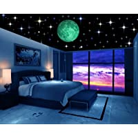 DreamKraft Glow in the Dark Galaxy of Stars with Moon Radium Night Wall Stickers, 230 Star (Multicolour)