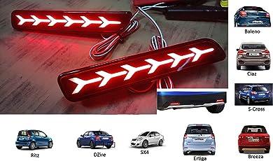 PR Car Reflector Led Brake Light for Bumper Rear , Back(Red)- Set of 2 Pcs