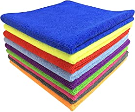 Microfiber Car Cleaning, Detailing & Polishing Cloth 320 GSM Pack of 5 (Assorted Mix Colours, 30 X 30 CM)
