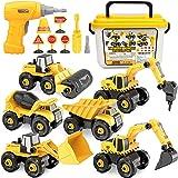 Vanplay Desmontar y Ensamblarde Vehículo de Construcciones Juguete Excavadora con Taladro Eléctrico, 6 Camiones en 1 con Herr
