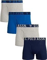 U.S. Polo Assn. Men's Cotton Boxer Briefs (4 Pack) (Blue/Grey, Small)'