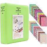 Ablus Store 64 Pockets Mini Photo Album pour Fujifilm Instax Mini 7s 8 8+ 9 25 26 50s 70 90 Caméra Instantanée et Carte Nom (64 poches, Vert citron)