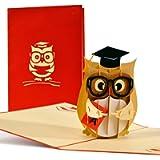 Biglietto regalo laurea 3d con gufo, biglietti auguri laurea per uomo o donna, congratulazioni laurea pop up per…