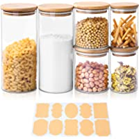 Bocaux en Verre, Lot de 6 Pot de Bocal en Verre avec Couvercle en Bambou et Rondelle en Silicone, pour Épices, Haricots…