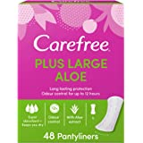 CAREFREE Daily Panty Liners, Plus Large, Aloe, Pack of 48