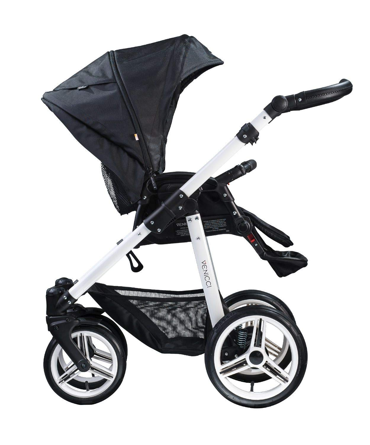 Venicci Soft Vento 3-in-1 Travel System - Black/White - with Carrycot + Car Seat + Changing Bag + Footmuff + Raincover + Mosquito Net + 5-Point Harness and UV 50+ Fabric + Car Seat Adapters  3 in 1 Travel System with included Group 0+ Car Seat Suitable for your baby from birth until 36 months 5-point harness to enhance the safety of your child 3