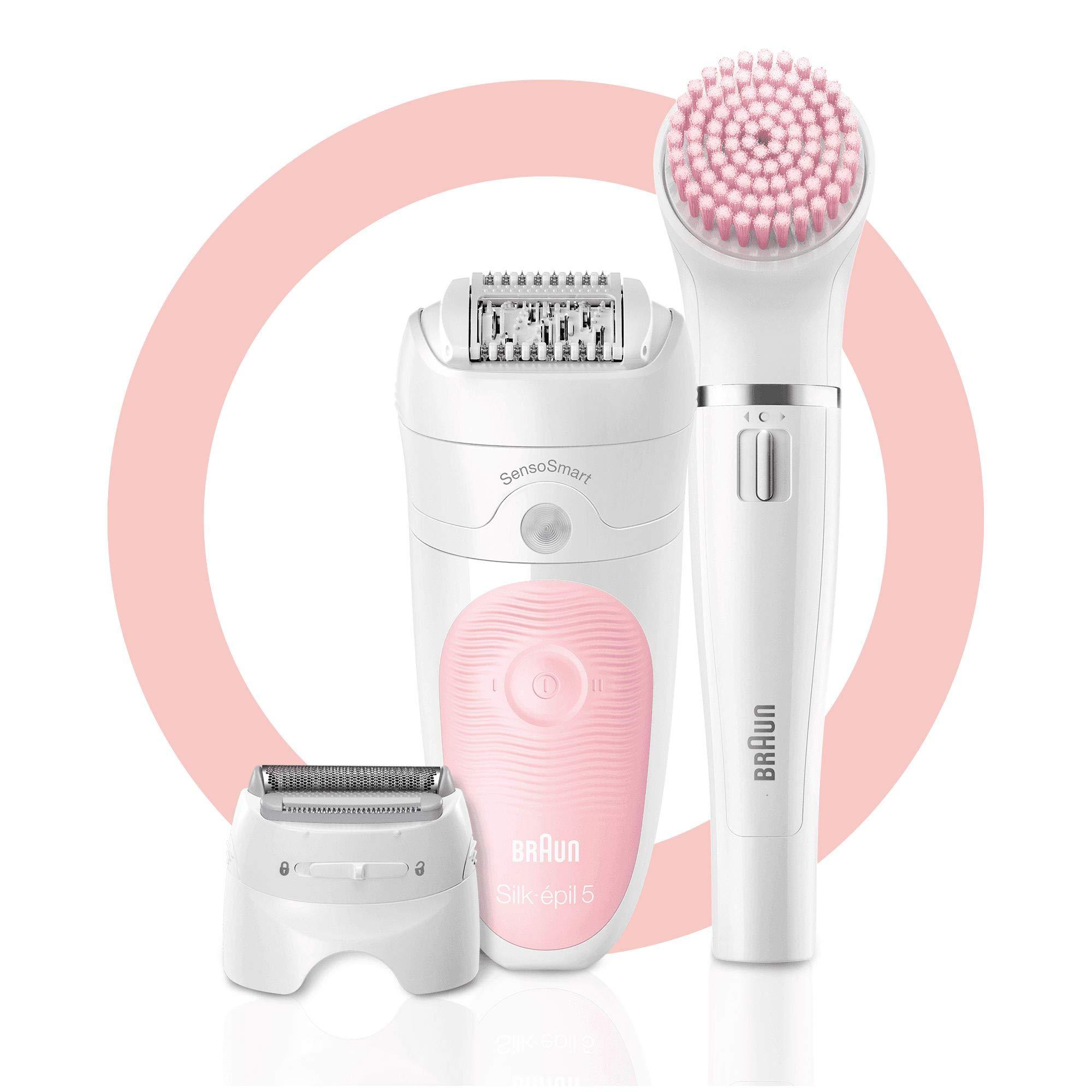 Braun Silk-epil Beauty-Starter-Set 5-895, 6-in-1 Kabellose Wet&Dry Haarentfernung, Epilierer, Rasierer, Reinigung und Peeling für Gesicht und Körper, weiß/flamingo