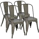 Yaheetech Chaise de Salle à Manger Lot de 4 Industrielle Tabouret de Cuisine Moderne 45 cm H Empilable avec Dossier Jardin Ba
