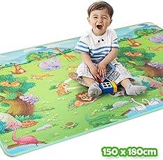 Bakaji Tappeto Gioco per Bambini Double Face Animali della foresta e Fattoria Super Tappetone Maxi Spessore in Schiuma Xeva Mat