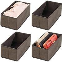 mDesign boite de rangement (lot de 4) – boite tissu pour linge, accessoires, bijoux, etc. – bac de rangement en fibre…