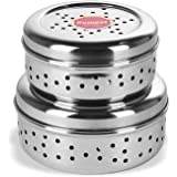 Sumeet Stainless Steel Hole Puri Dabbas/Flat Canisters with Air Ventilation Size No.7-11 cm Dia & No. 8-12.5 cm Dia