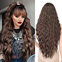YEESHEDO Damen Dunkelbraun Lang Wellig Lockige Perücke Natürlich Farbe lange locken Volles Haare Peruecke mit Pony für…