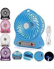 SHOPTOSHOP Mini Portable USB Rechargeable Fan 5 inch (Multicolour, Small)