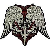 EMDOMO Parche bordado grande con diseño de calaveras y espada para planchar en motocicleta o motociclista, Chaleco con apliqu