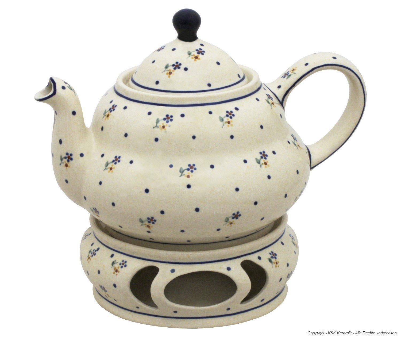 Boleslawiec Pottery Teepot 1.5 L with Warmer, Original Bunzlauer Keramik, Decor 111