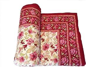 Shop Rajasthan Reversible Floral Print Cotton Single Bed Quilt Razai (Multicolour)