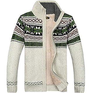 Hommes Mono col en fourrure tricot veste zippée Patch Poche Pull épais Cardigan M L XL