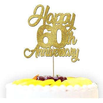 Personalised Happy 40th 50th 60th Diamond Anniversary Glitter Cake Topper Wedding Decoration