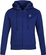 CAYMAN Girls Blue Solid Hooded Sweatshirt