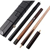 CUESOUL Classic Handmade 57 Rosewood 3/4 Piece Snooker Cue with Black Cue Case and Aluminum Telescope Extension