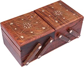 ITOS365 Jewellery Box for Women Wooden Flip Flap Brass Inlay Handmade Gift, 8 inches