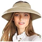 accsa Cappello di Paglia da Donna Visiera Cappello da Spiaggia con Bowknot Estivo Pieghevole Arrotolato Cappello da Sole a Te